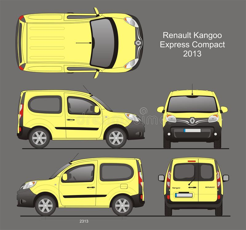Renault Kangoo Pasażerski Van Ekspresowy Ścisły 2013 projekt royalty ilustracja