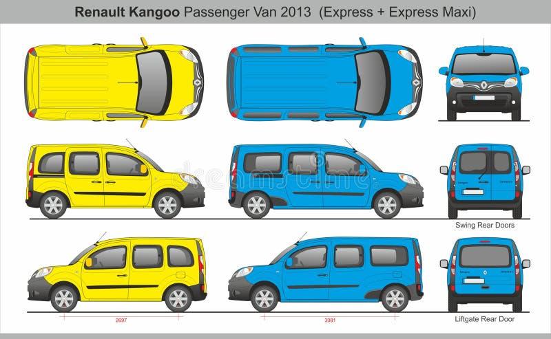 Renault Kangoo Passenger Van 2013 Uitdrukkelijk en Maxi royalty-vrije illustratie