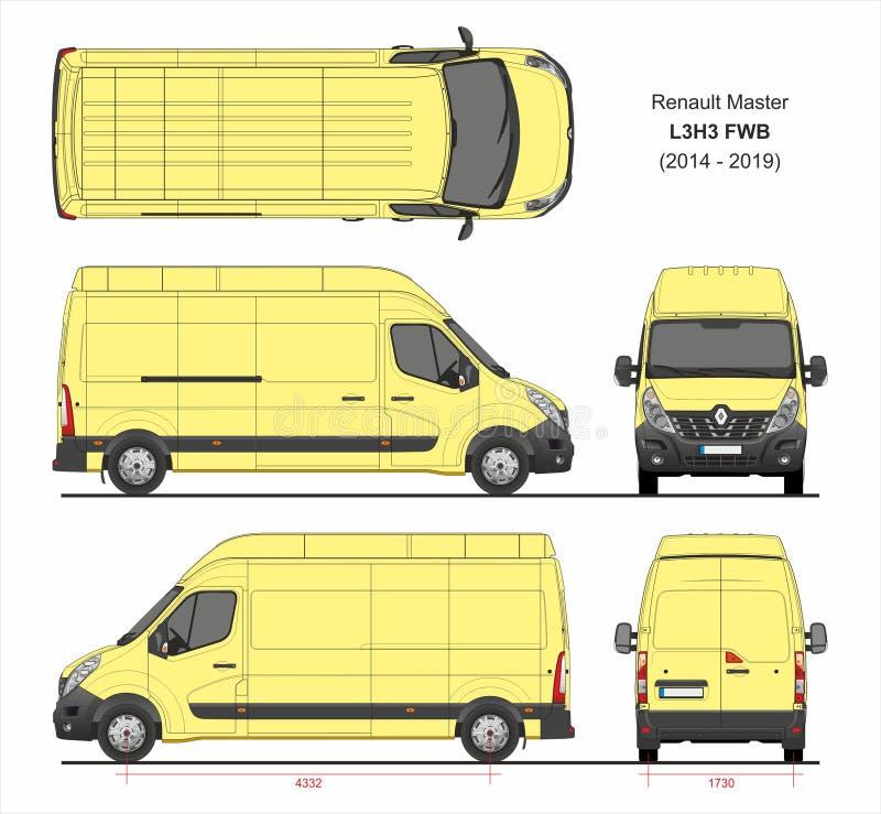 Renault Master Cargo Delivery Van L3H3 FWB 2014-2019 illustration libre de droits