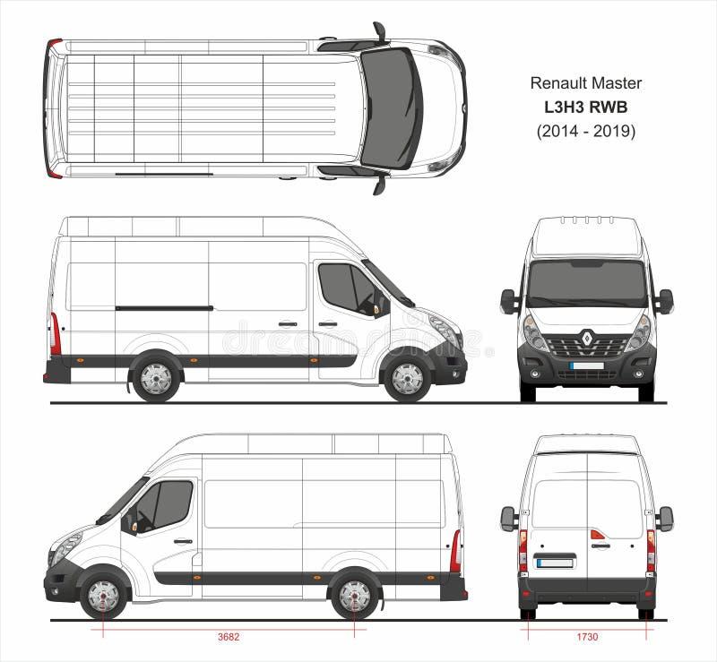 Renault Master Cargo Delivery Van L3H3 RWB 2014-2019 illustration stock