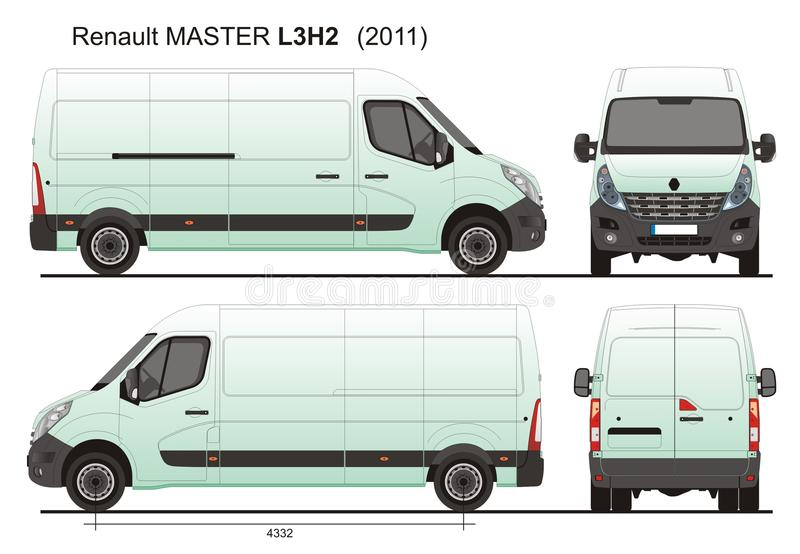 Renault Master Van L3H2 2011 stock illustrationer