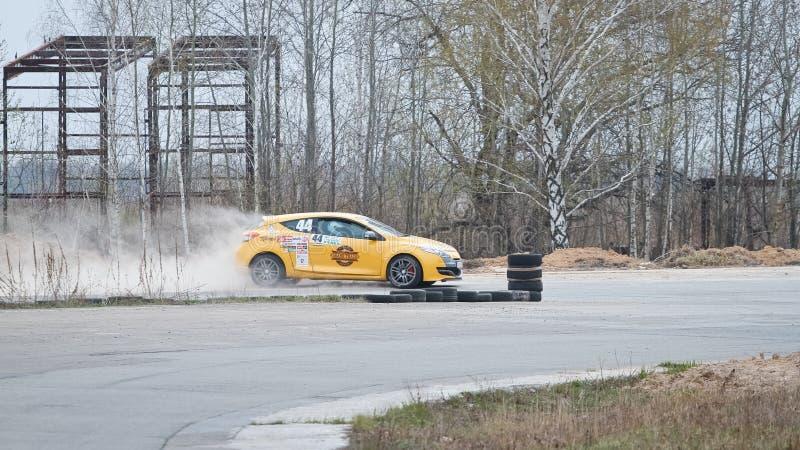 Renault Megane, French sports tuned car racing at Chayka motor racing circuit, day race, Kyiv Ukraine, 09.04.2016, editorial photo stock photography