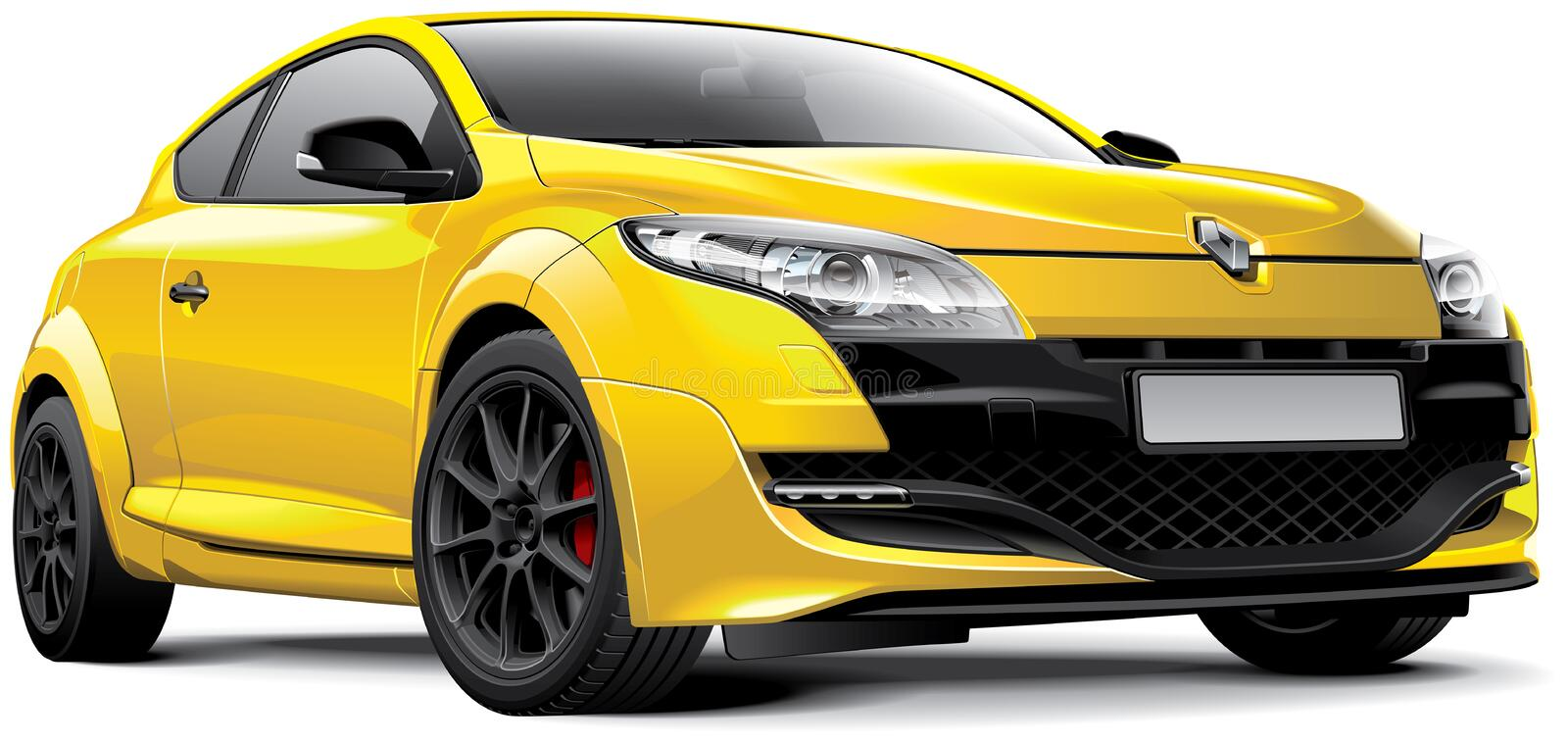 Renault Megane RS. Detail vector image of yellow French hot hatch - Renault Megane RS, isolated on white background. File contains gradients, blends and