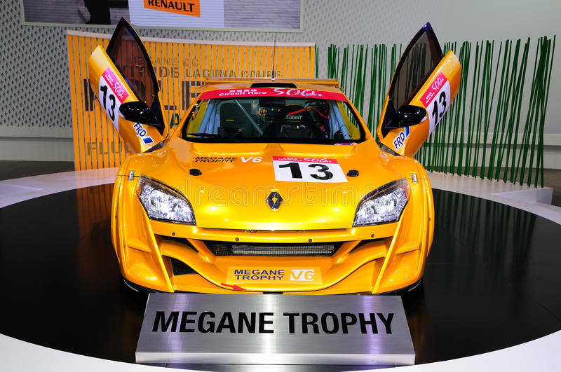 Renault Megane Trophy race car. Guangzhou, China - November 23, 2012: Renault Megane Trophy race car was exhibited in the 10th China (Guangzhou) International royalty free stock photos