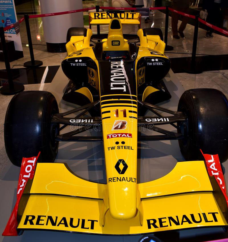 Renault R30 Formula One car driven by Robert Kubica in a mall. Renault Formula One car in a public exhibition. R30 model, driven by Robert Kubica. La Coruna stock photography