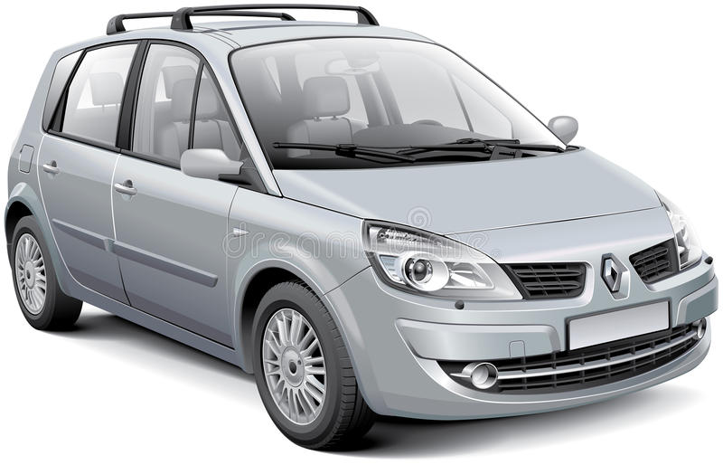 Renault Scenic II. Detail vector image of silver French compact MPV - Renault Scenic II, isolated on white background. File contains gradients, blends and