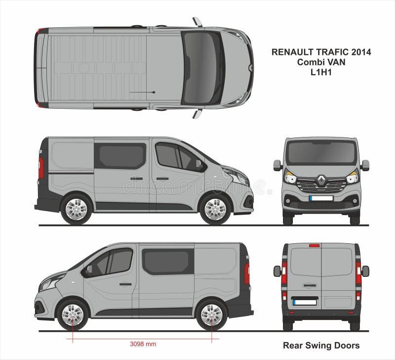 Renault Trafic Combi Delivery Van L1H1 2014 illustration stock