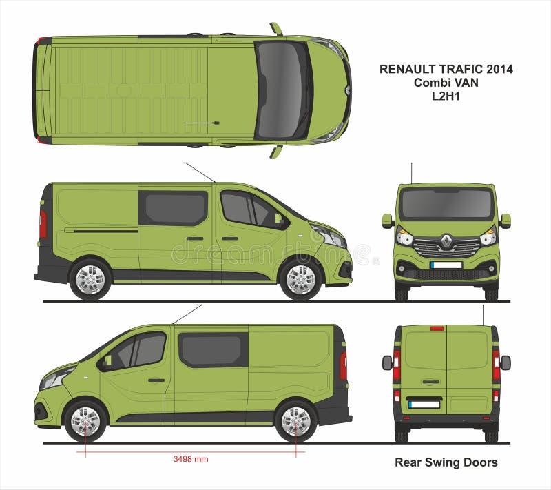 Renault Trafic Combi Delivery Van L2H1 2014 illustration de vecteur