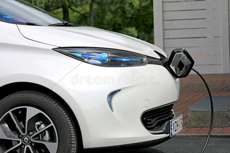 Renault Zoe Electric Car Charging royalty free stock photography