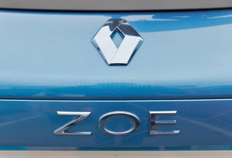 Renault Zoe-Elektroauto auf Einsteck-Ukraine Ausstellung 2017 Kiews stockbild