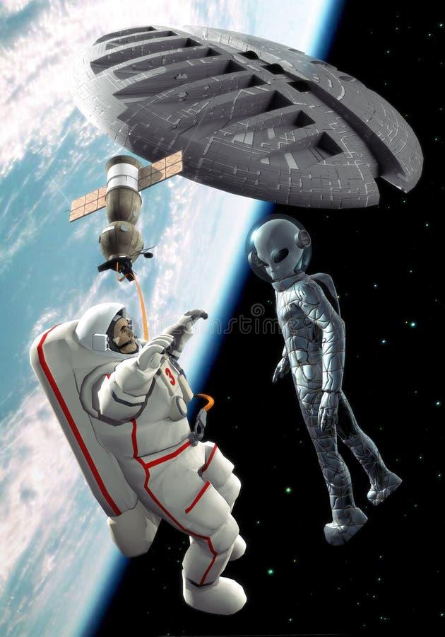 Rencontre étrangère de l'espace illustration stock