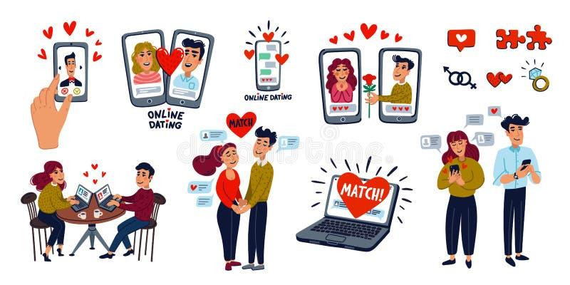 Rencontre en ligne Big Set Couples en mangeant, application mobile, portable, jeune homme et femme à la recherche d'amour avec un illustration de vecteur