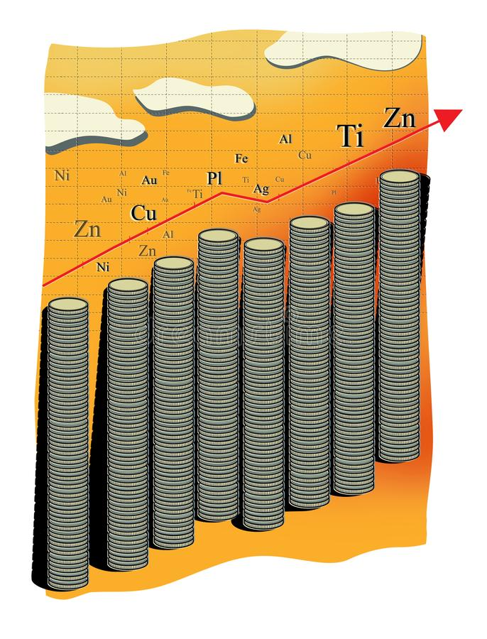Renda da mercadoria Gráfico abstrato do crescimento no custo dos metais Pilhas múltiplas de moedas ou de microplaquetas em termos ilustração royalty free