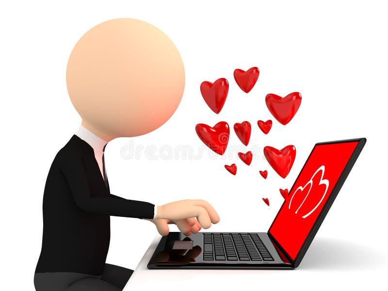 Renda da pessoa chating com portátil ilustração do vetor