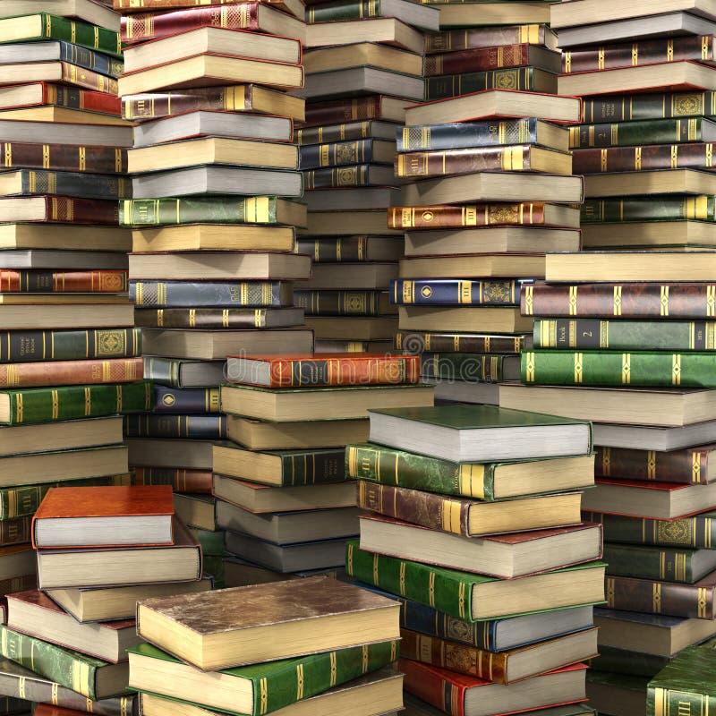 Renda da pilha grande de livros coloridos na tela cheia ilustração stock
