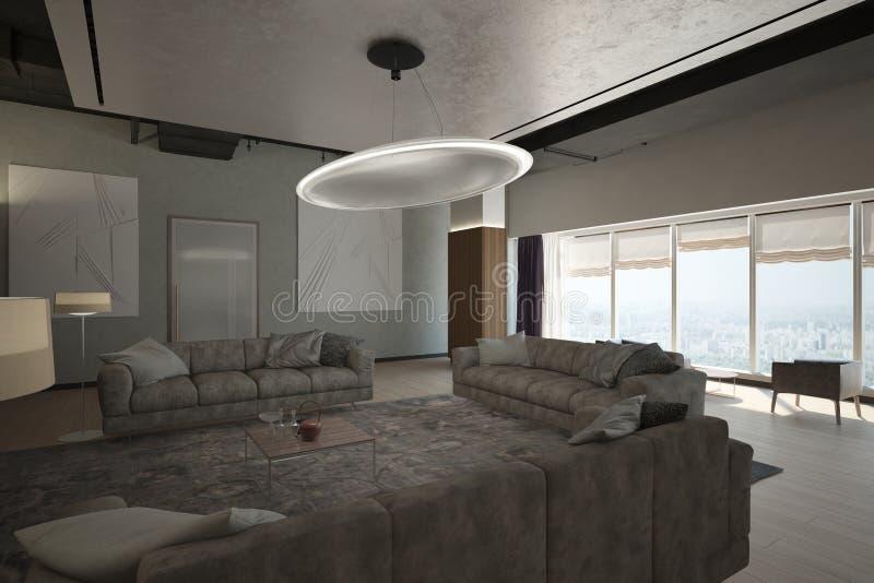 Renda da zona moderna da sala de estar ilustração royalty free