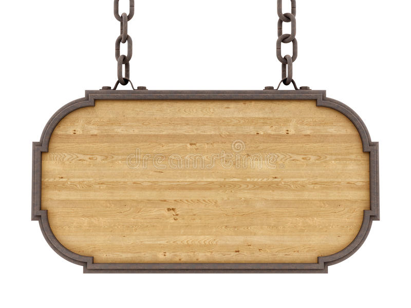 Renda de um sinal de madeira ilustração stock