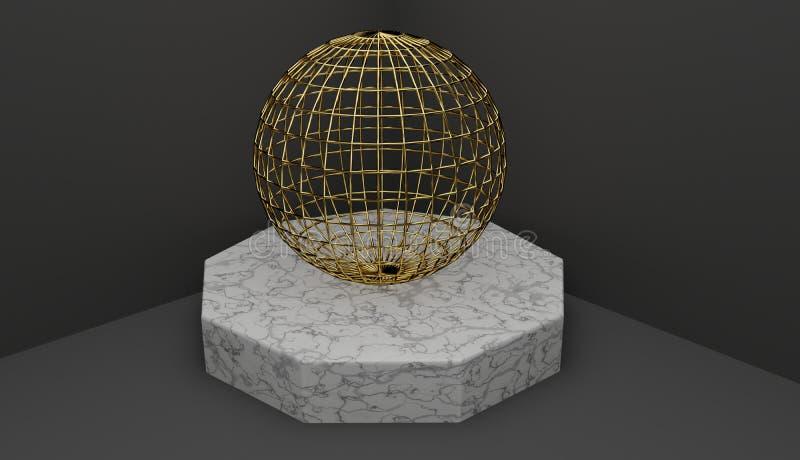 Renda de um suporte de mármore com uma esfera do quadro do fio do ouro, decoração da arte moderna ilustração do vetor