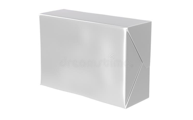 Renda del contenitore di carta isolato di involucro con ombra, imburri, sparga, insaponi falso su su fondo bianco fotografia stock