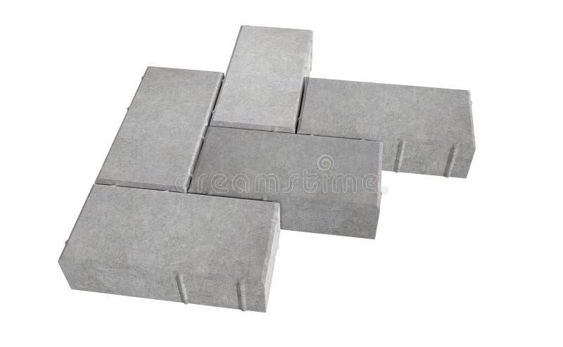 Renda della serratura grigia tre che pavimenta i mattoni Isolato su priorità bassa bianca royalty illustrazione gratis