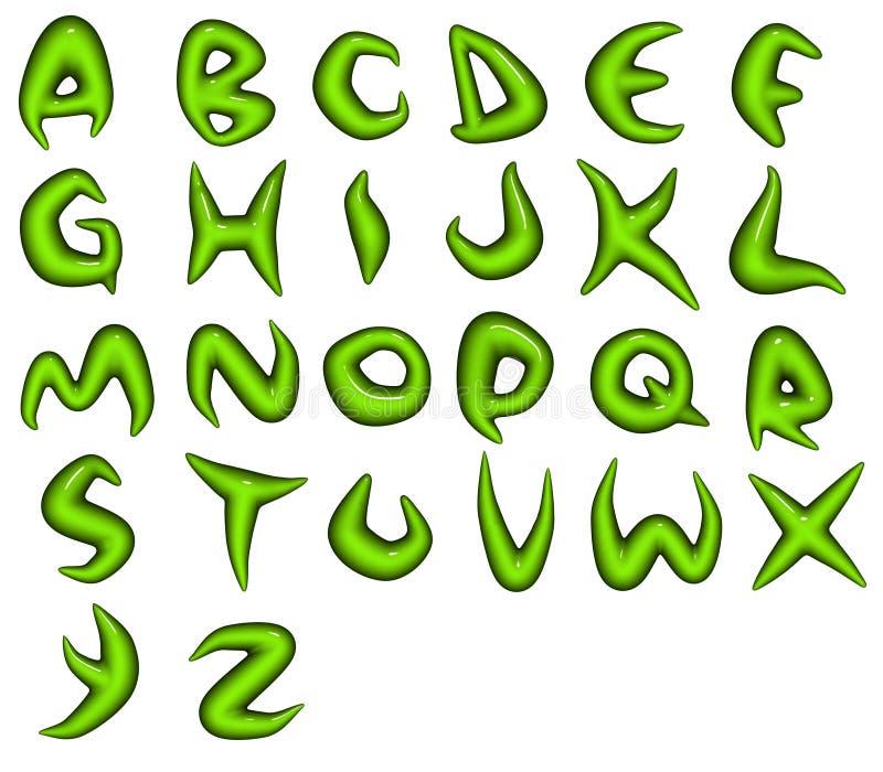 Renda di bio- fonti tipografiche verdi di alfabeto di eco royalty illustrazione gratis