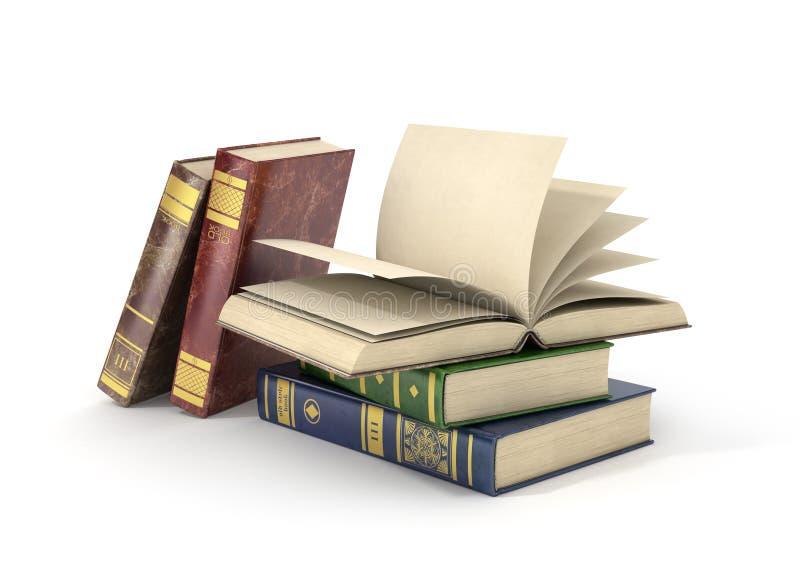 Renda do grupo de livros diferentes com páginas vazias, ilustração stock
