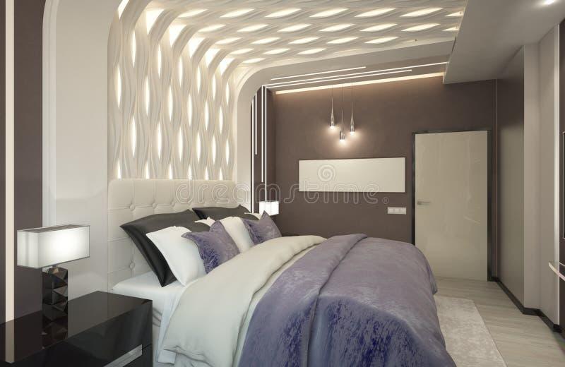 Renda do quarto com a manta roxa fotografia de stock royalty free