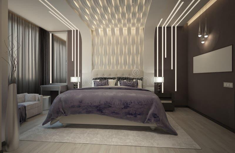 Renda do quarto com a manta roxa imagem de stock royalty free