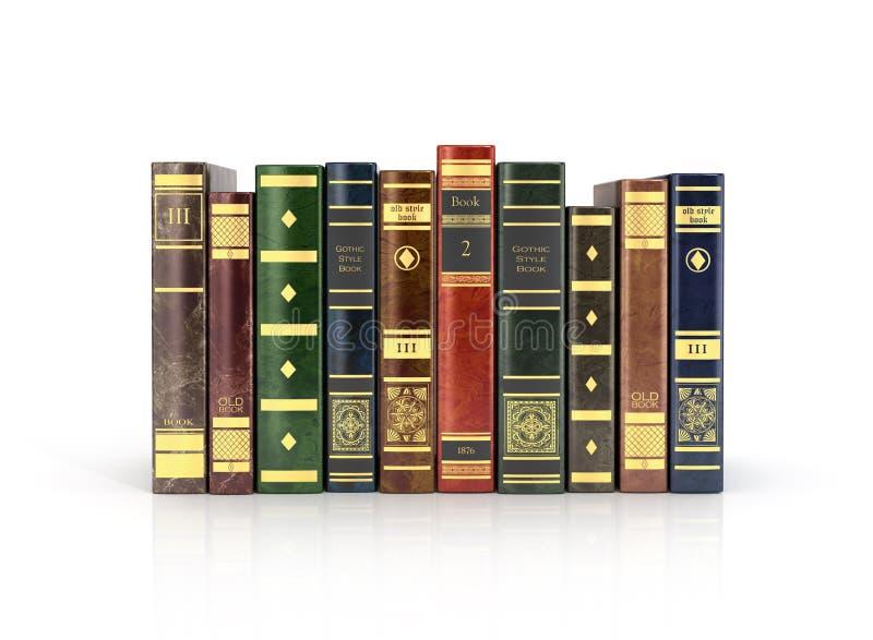 renda dos livros coloridos velhos da pilha ilustração do vetor