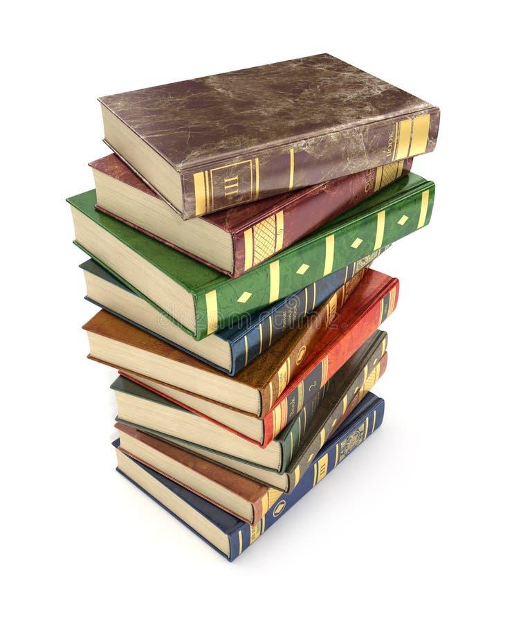 renda dos livros coloridos velhos da pilha ilustração royalty free