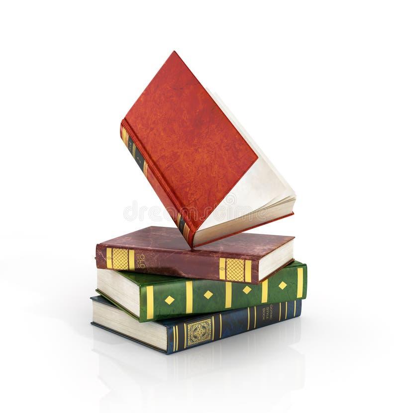 Renda dos livros coloridos velhos da pilha com ilustração do vetor