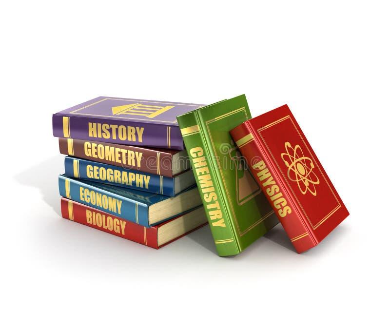 Renda dos livros de escola coloridos velhos da pilha ilustração do vetor