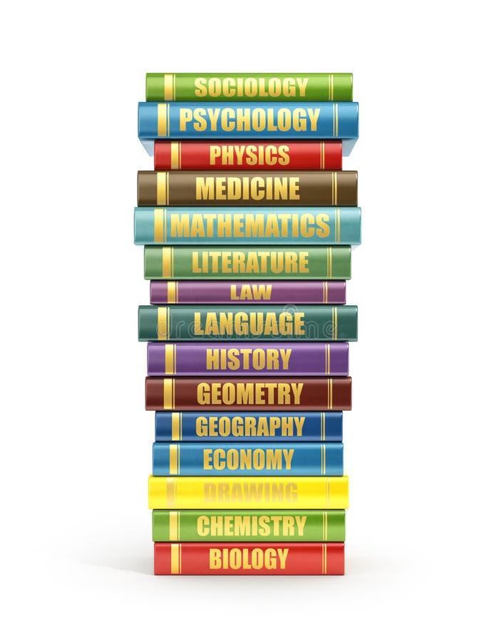Renda dos livros de escola coloridos velhos da pilha ilustração stock