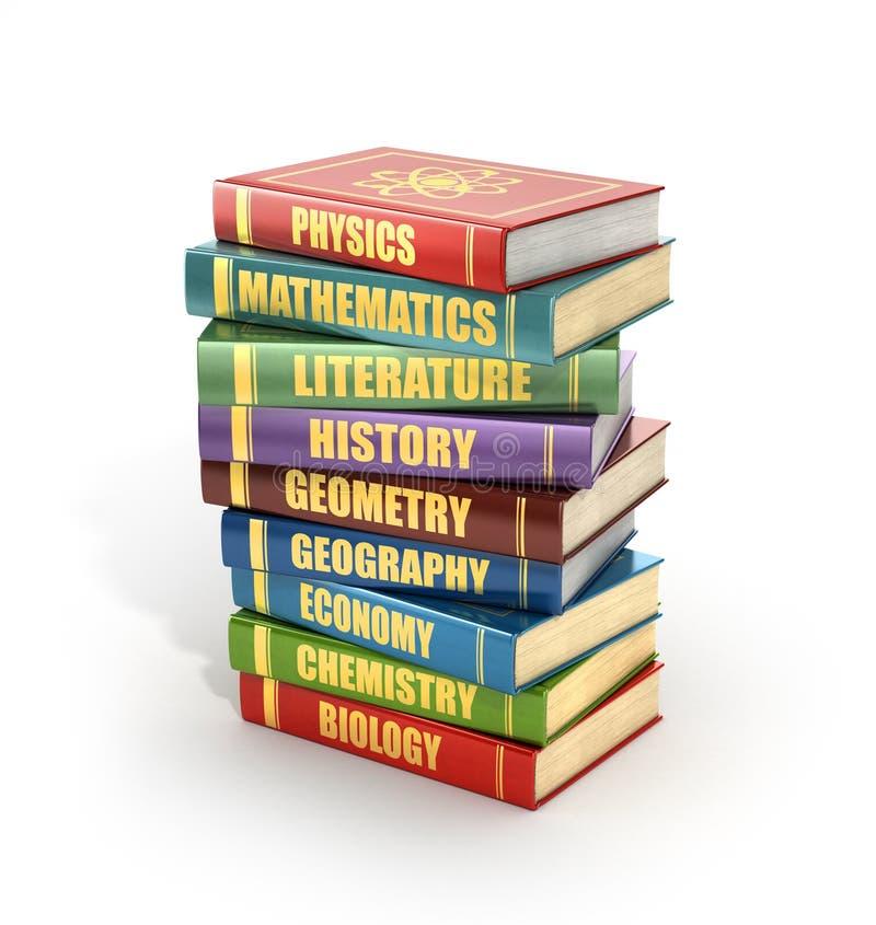 Renda dos livros de escola coloridos velhos da pilha ilustração royalty free