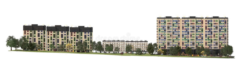 Renda gli edifici residenziali moderni con le facilità all'aperto, facciata di nuove case a bassa energia immagine stock