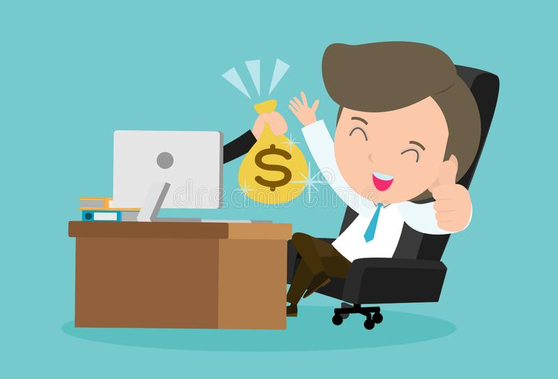 Renda i soldi in linea Illustrazione di vettore di concetto di affari fondi felici Earn dell'uomo d'affari online royalty illustrazione gratis