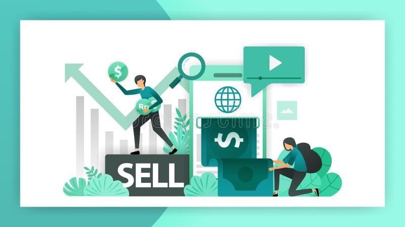 Renda i soldi in linea Profitti contare mobili di aumento nell'affare, investimento vendendo le parti e facendo un affare Illustr illustrazione vettoriale
