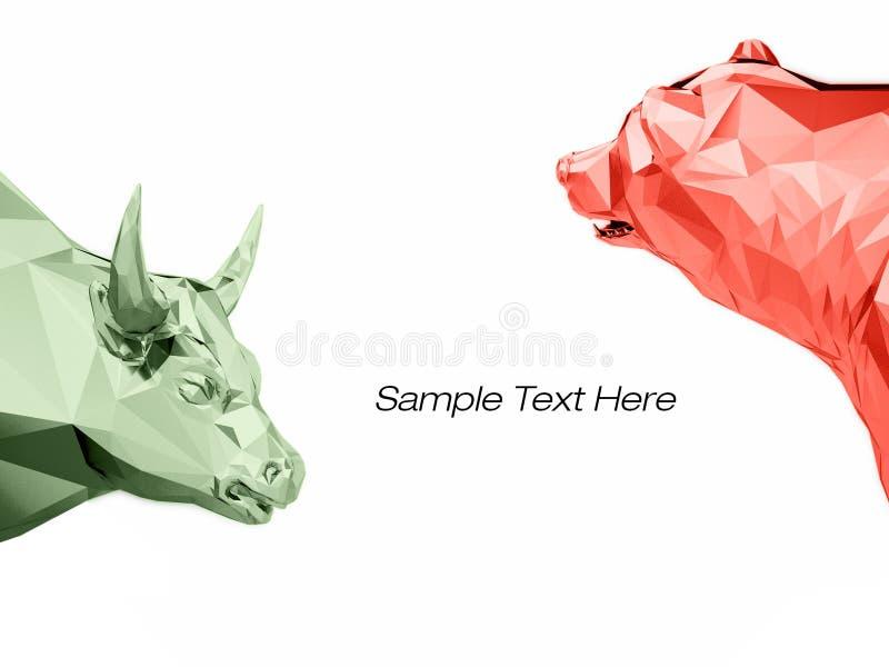 Renda a ilustração da cabeça dourada do touro e do urso ilustração stock