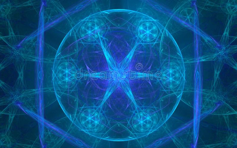 Renda l'illustrazione un bello modello astratto delle tonalità blu d'ardore che consistono di un cerchio, di una stella e dei pet illustrazione vettoriale