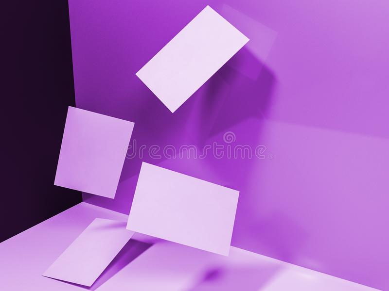 Renda le immagini 3d dei biglietti da visita sparsi dinamicamente su un'unità di elaborazione immagini stock libere da diritti