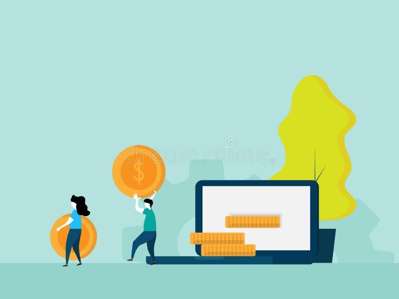 Renda a soldi il concetto online royalty illustrazione gratis