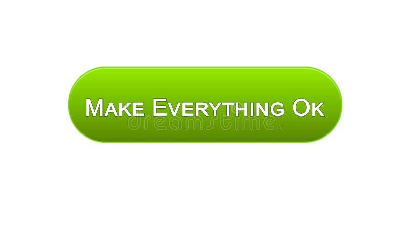 Renda tutto il bottone giusto dell'interfaccia di web colore verde, progettazione del sito internet illustrazione vettoriale