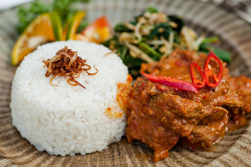 Rendang Traditional Indonesian food. Indonesian traditional food, Delicious beef with special seasoning called rendang in Indonesia stock image