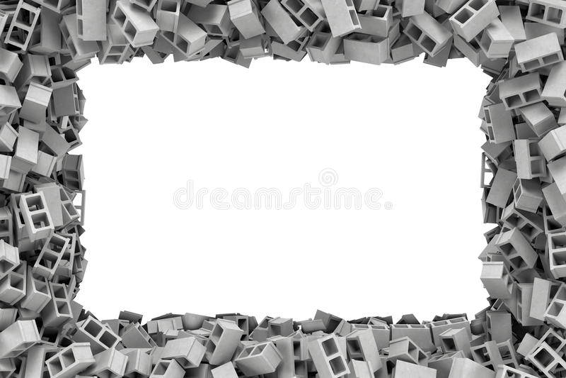 Rendant le cadre rectangulaire fait de blocs de cendre gris se trouvant aux bords avec l'espace vide blanc au milieu illustration de vecteur