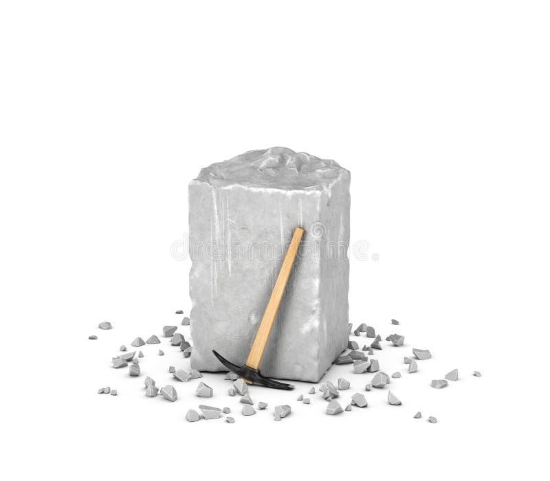 Rendant le grand bloc rectangulaire de roche grise, de ses puces et de sélection d'isolement sur le fond blanc illustration stock
