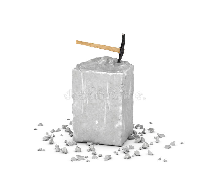 Rendant le grand bloc rectangulaire de roche grise, de ses puces et de sélection d'isolement sur le fond blanc illustration de vecteur
