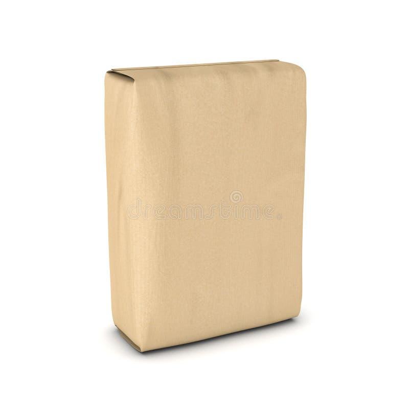 Rendant le sac de ciment d'isolement sur le fond blanc illustration de vecteur
