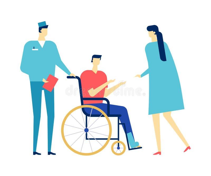 Rendant visite à un docteur - illustration plate colorée de style de conception illustration de vecteur