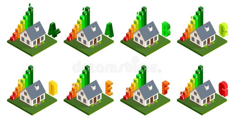 Rendement énergétique et concept d'amélioration de l'habitat Icônes à la maison isométriques d'énergie Illustration de vecteur illustration de vecteur