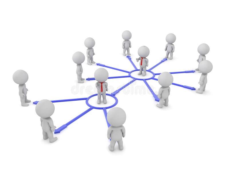 Rendement en 3D du réseau de la chaîne de commandement illustration de vecteur